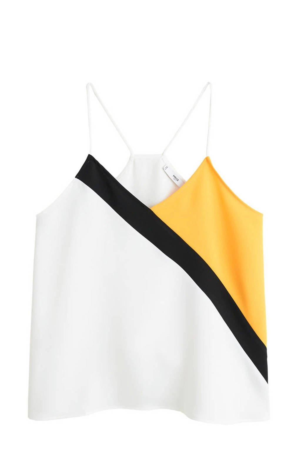 Mango spaghettitop met all over print wit/geel/zwart, Wit/geel/zwart