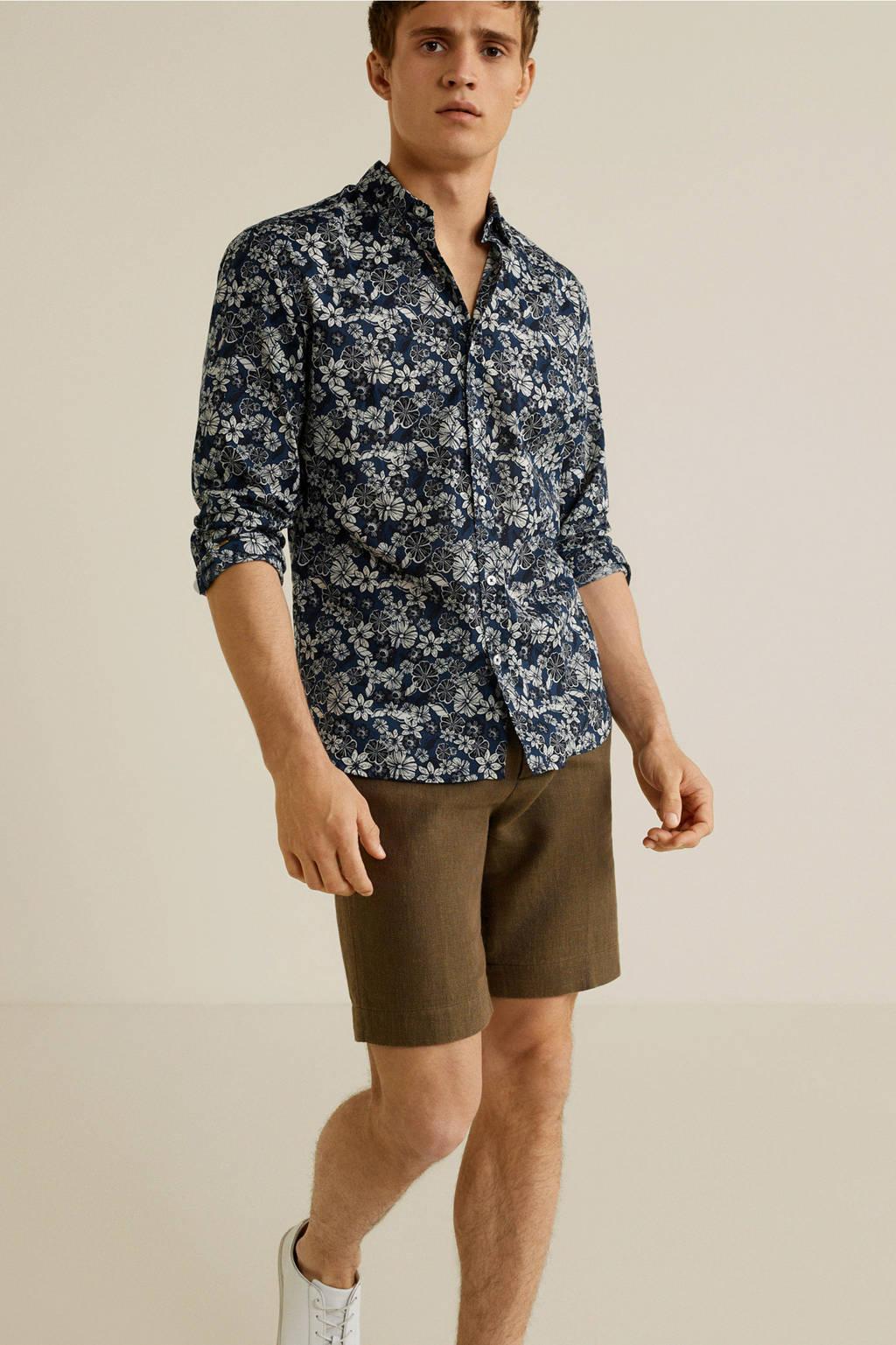 Mango Man gebloemd regular fit overhemd donkerblauw, Donkerblauw