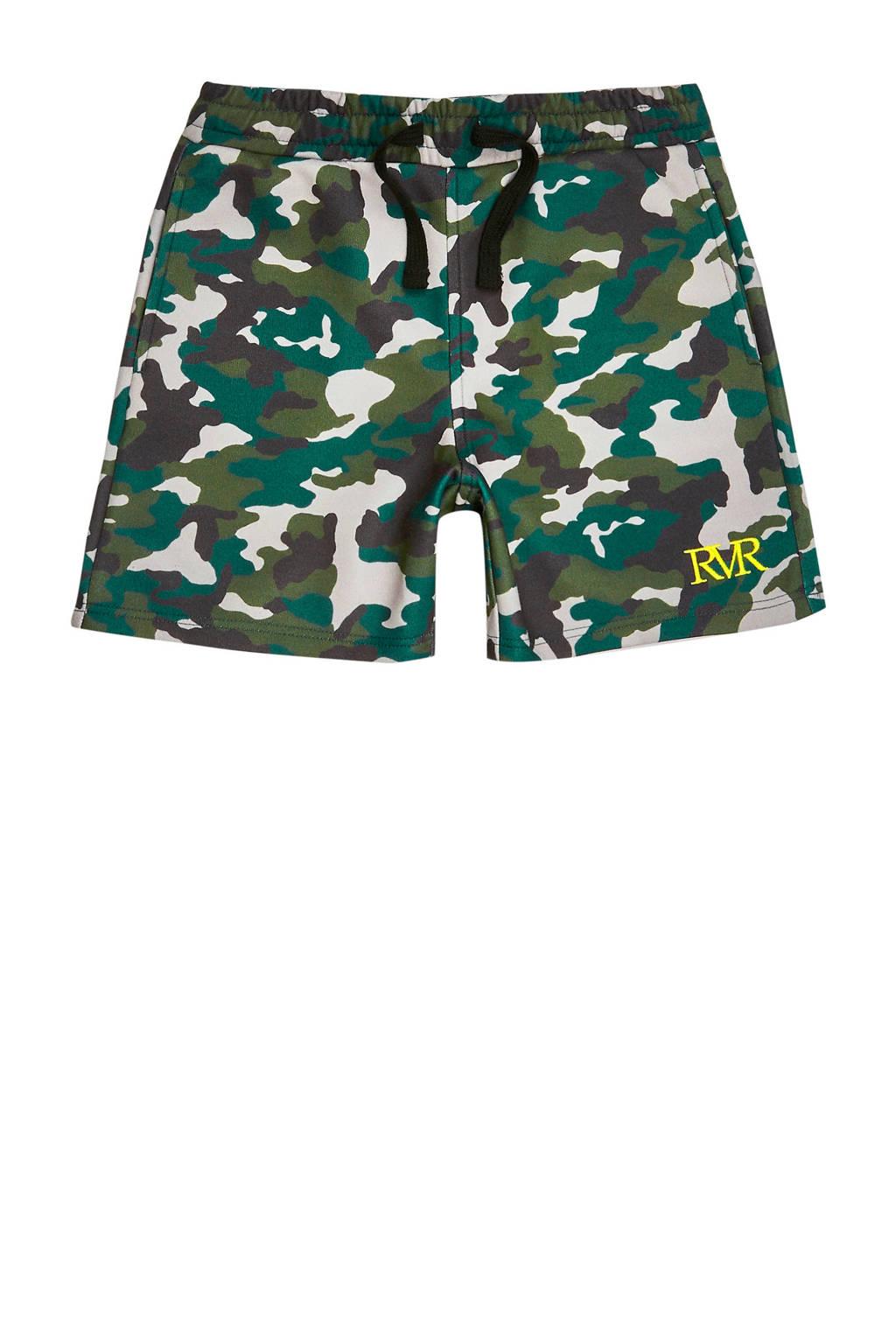 River Island sweatshort met camouflageprint groen/kaki/blauw, Groen/kaki/blauw