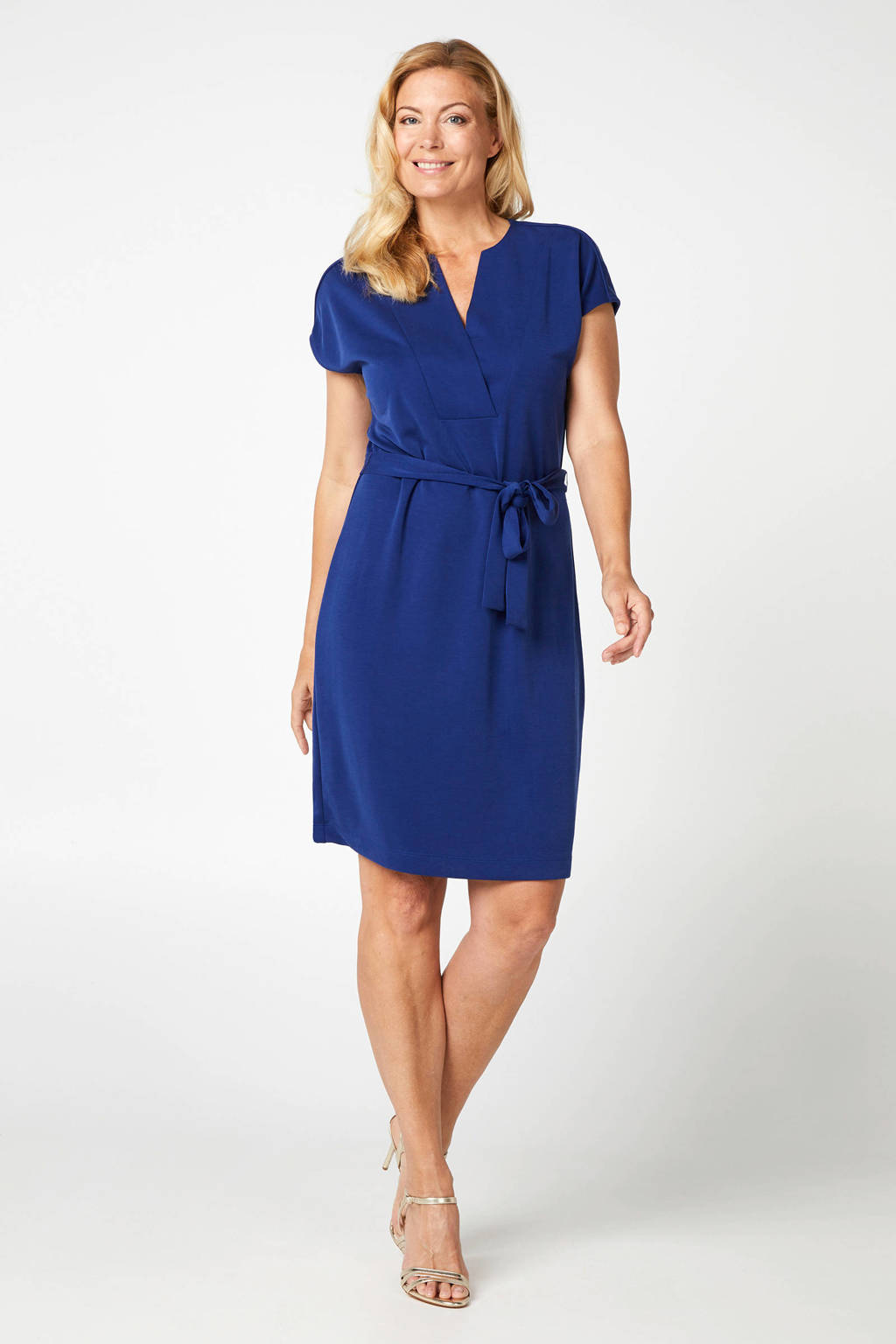 Promiss jersey jurk blauw, Blauw