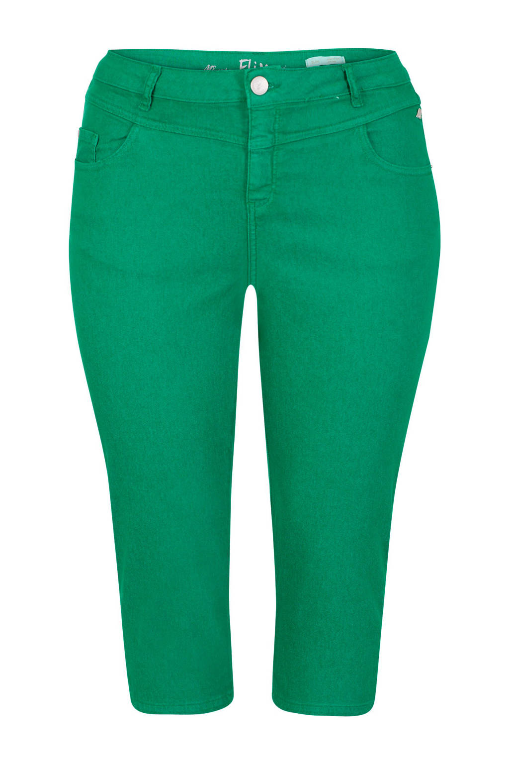 Miss Etam Plus slim fit capri groen, Groen