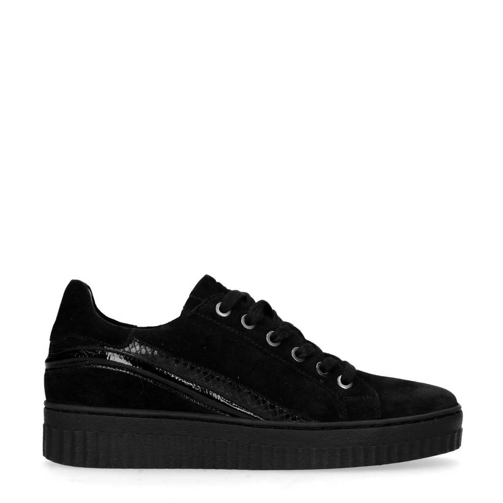 Sacha  suède plateau sneakers zwart, Zwart