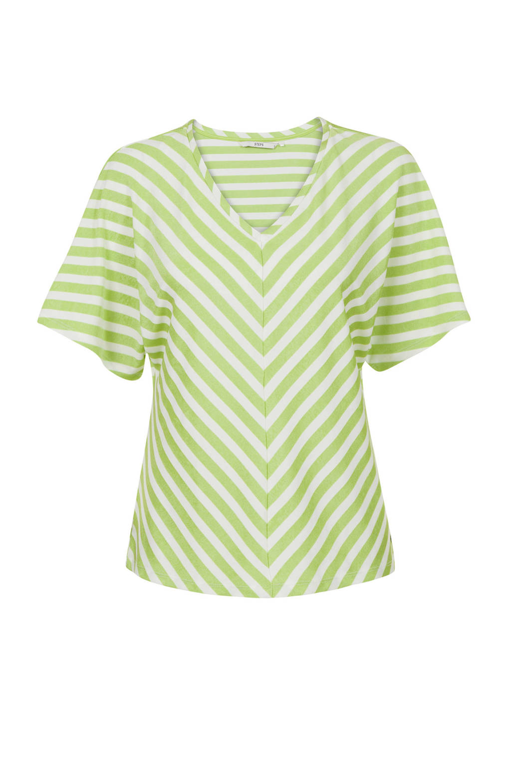 Steps gestreept T-shirt groen/wit, Groen/wit