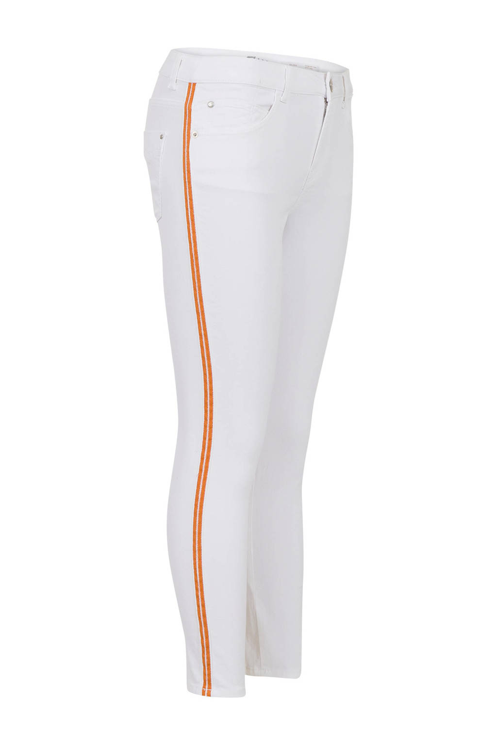 Miss Etam Regulier cropped skinny broek Elise met zijstreep wit, Wit