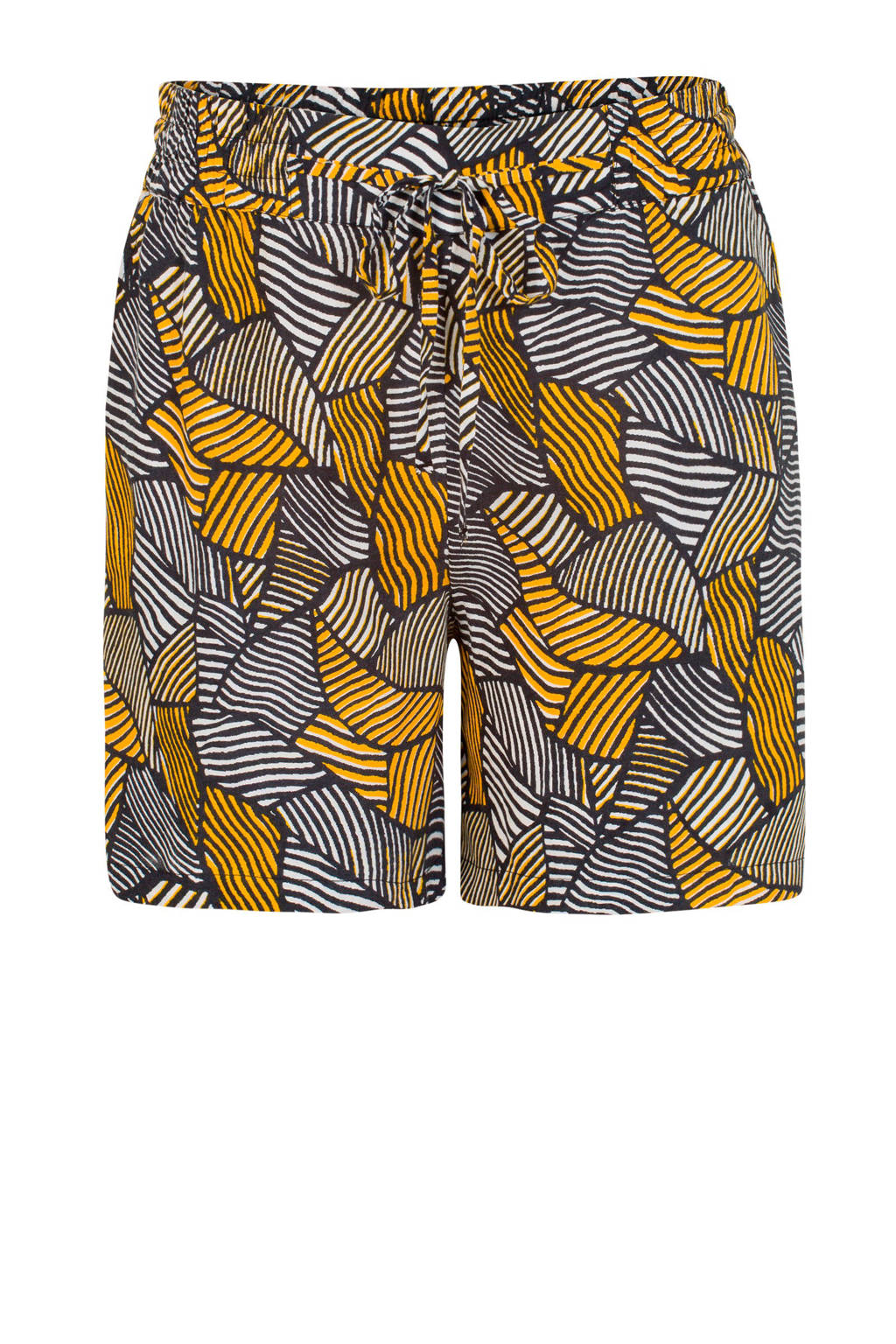 Miss Etam Regulier regular fit short met all over print geel/zwart, Geel/zwart