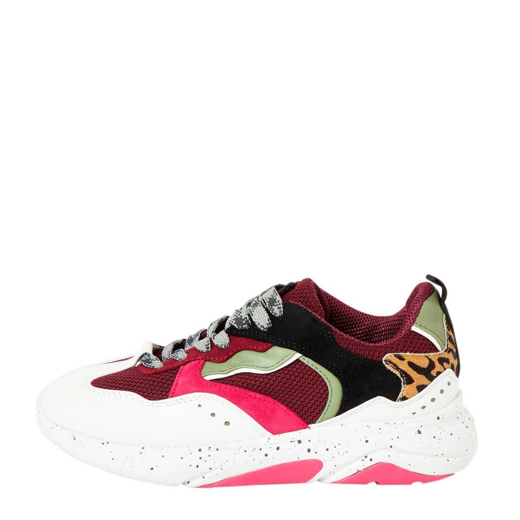 River Island   sneakers bordeauxrood/wit, Bordeauxrood/Multi