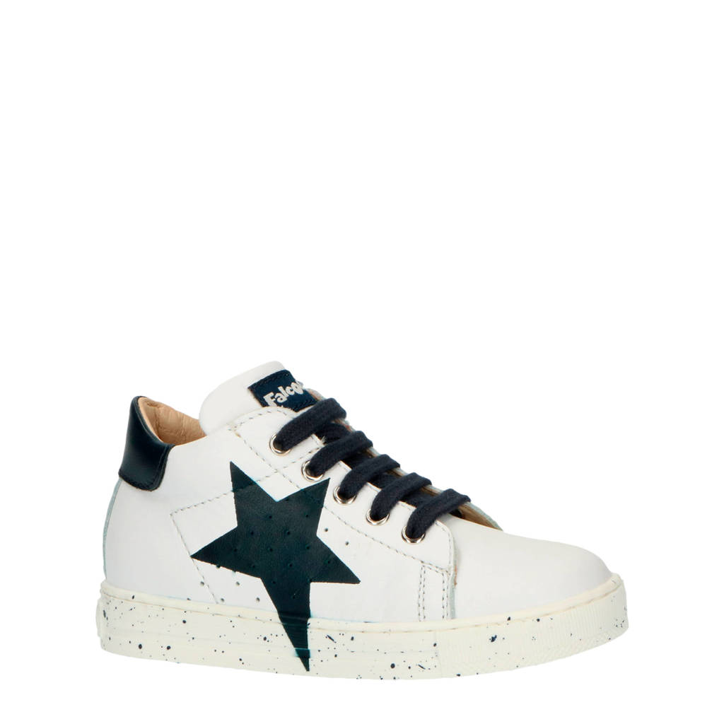 Falcotto Venus  leren sneakers wit/donkerblauw, Wit/donkerblauw