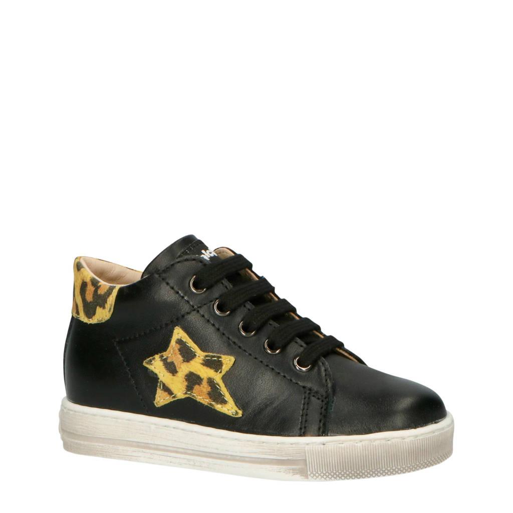 Falcotto Sasha  leren sneakers zwart, Zwart/geel