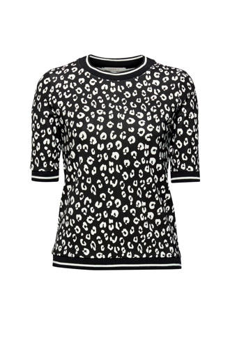 Women Casual T-shirt LEO met panterprint zwart/wit