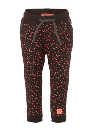tapered fit joggingbroek met all over print antraciet/roze