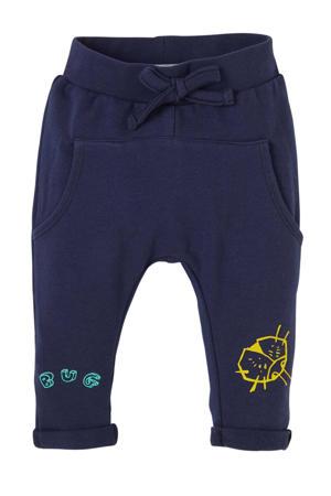 baby broek Crew met printopdruk donkerblauw