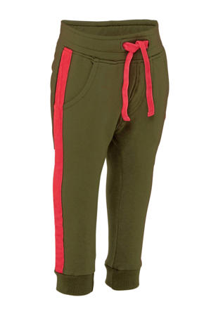 tapered fit joggingbroek met zijstreep legergroen