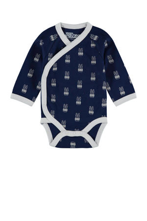 romper Robb met all over print donkerblauw