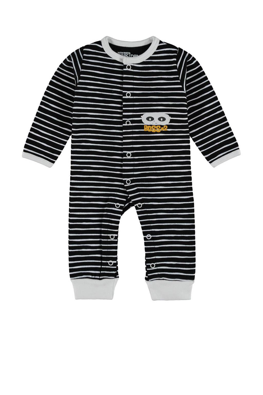 4PRESIDENT baby gestreept boxpak Leonardo met contrastbies zwart/grijs, Zwart/grijs