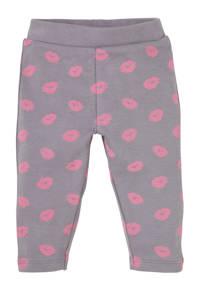 4PRESIDENT baby slim fit broek Karen met all over print grijs/roze, Grijs/roze