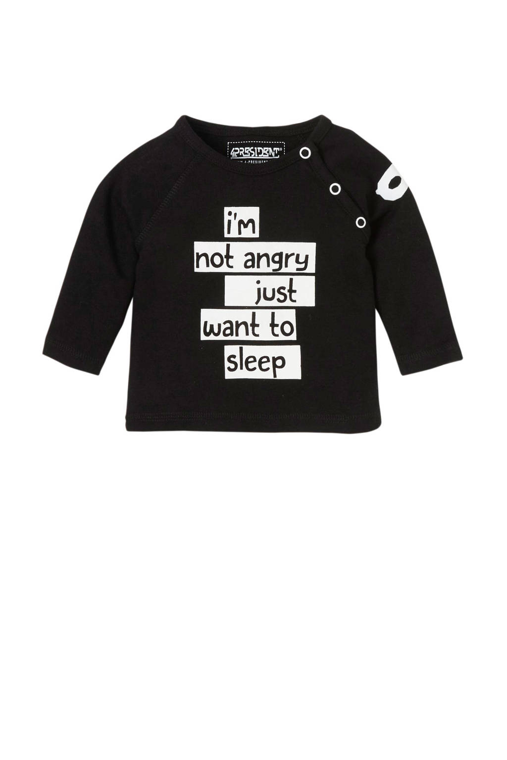 4PRESIDENT baby longsleeve Matthew met tekst zwart, Zwart
