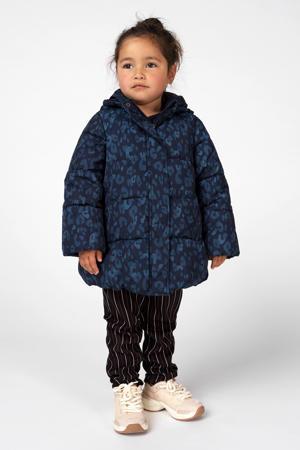 winterjas Bellflower met panterprint donkerblauw