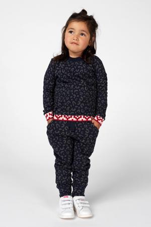 sweater Coalinga met panterprint donkerblauw/d.rood