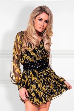 Selected By Kate Moss jurk met all over print en sierstenen geel/zwart