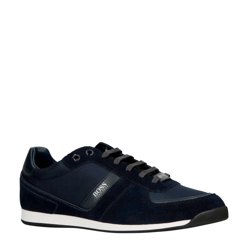 BOSS  Glaze suède sneakers donkerblauw, Donkerblauw
