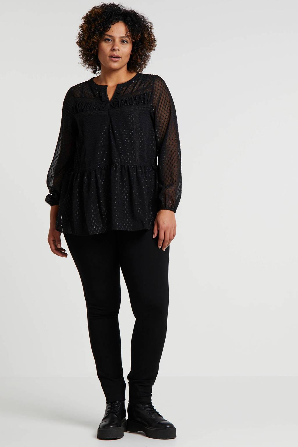 Zizzi semi-transparante glittertop met kant zwart, Zwart