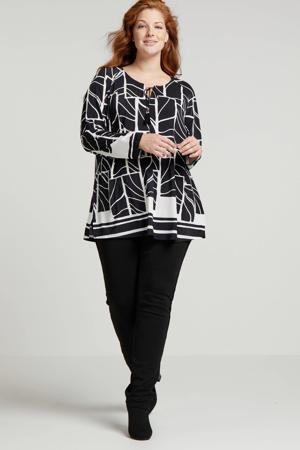 top met all over print en franjes zwart/wit