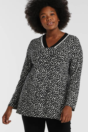 longsleeve met all over print zwart/wit