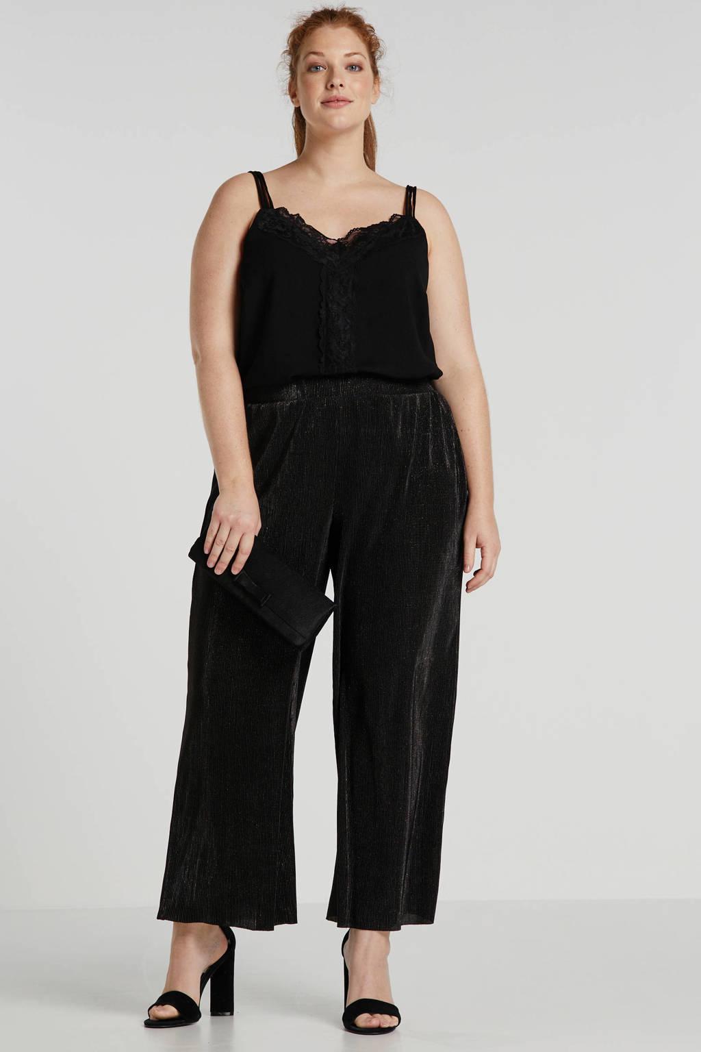 Zizzi loose fit broek zwart/goud, Zwart/goud