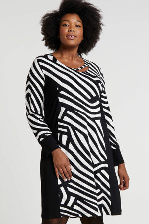 jersey jurk met all over print en open detail zwart/wit