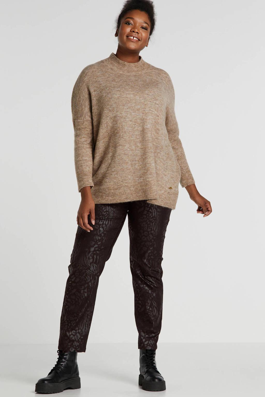 Sempre Piu coated regular fit broek zwart, Zwart