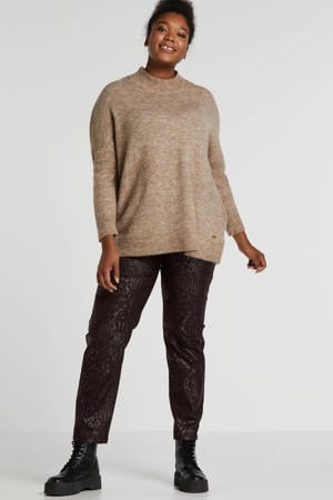 coated regular fit broek zwart