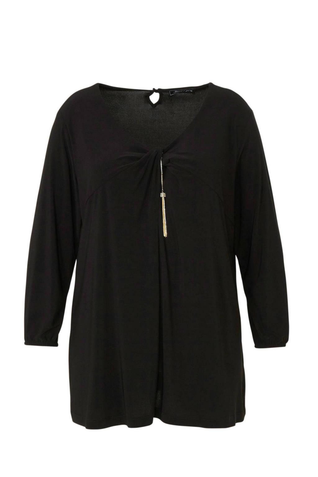 Sempre Piu top met sierstenen zwart, Zwart