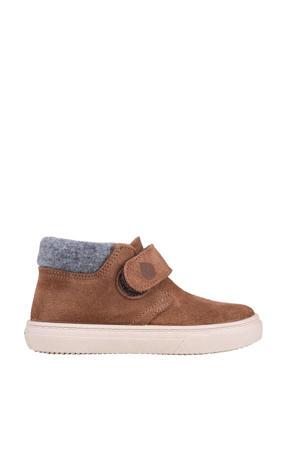 W10198  halfhoge suède sneakers bruin