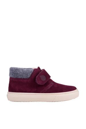 W10198  halfhoge suède sneakers augbergine