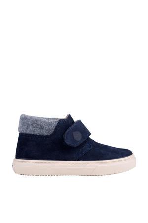 W10198  halfhoge suède sneakers blauw