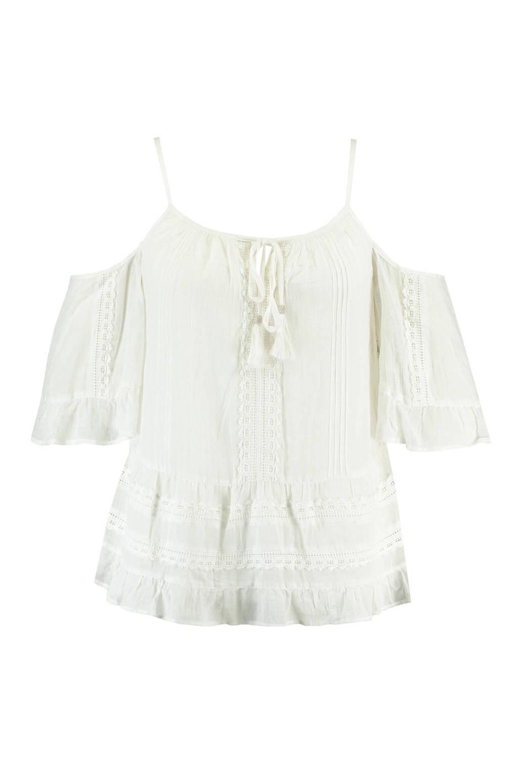 MS Mode open shoulder top met borduursels wit, Wit