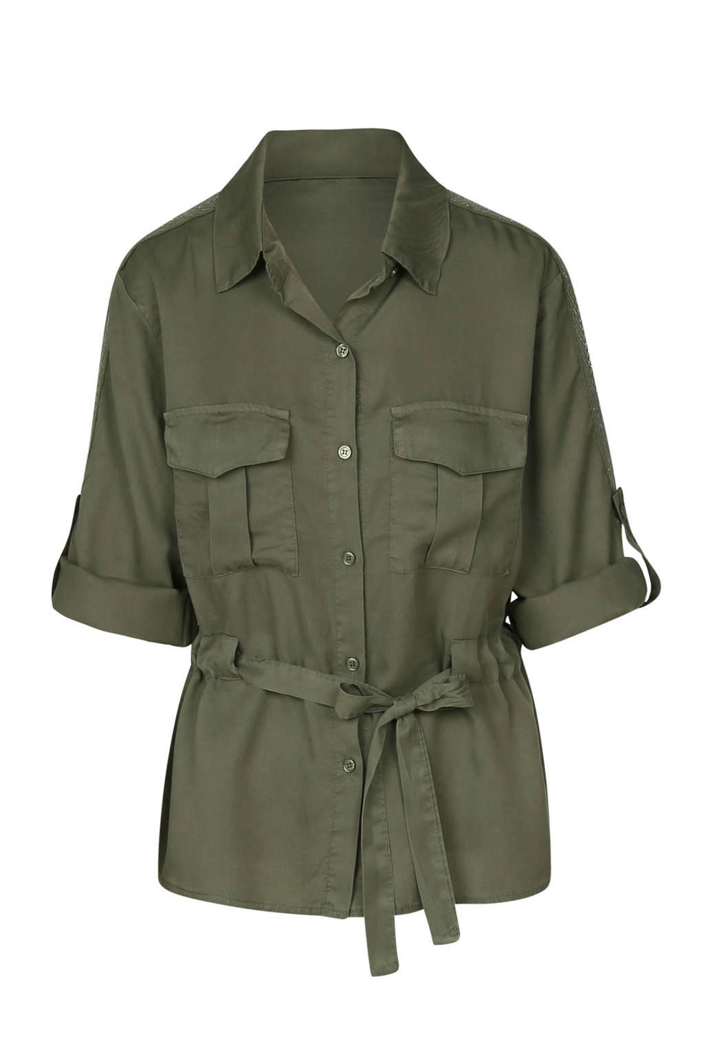Cassis blouse met ceintuur kaki, Kaki