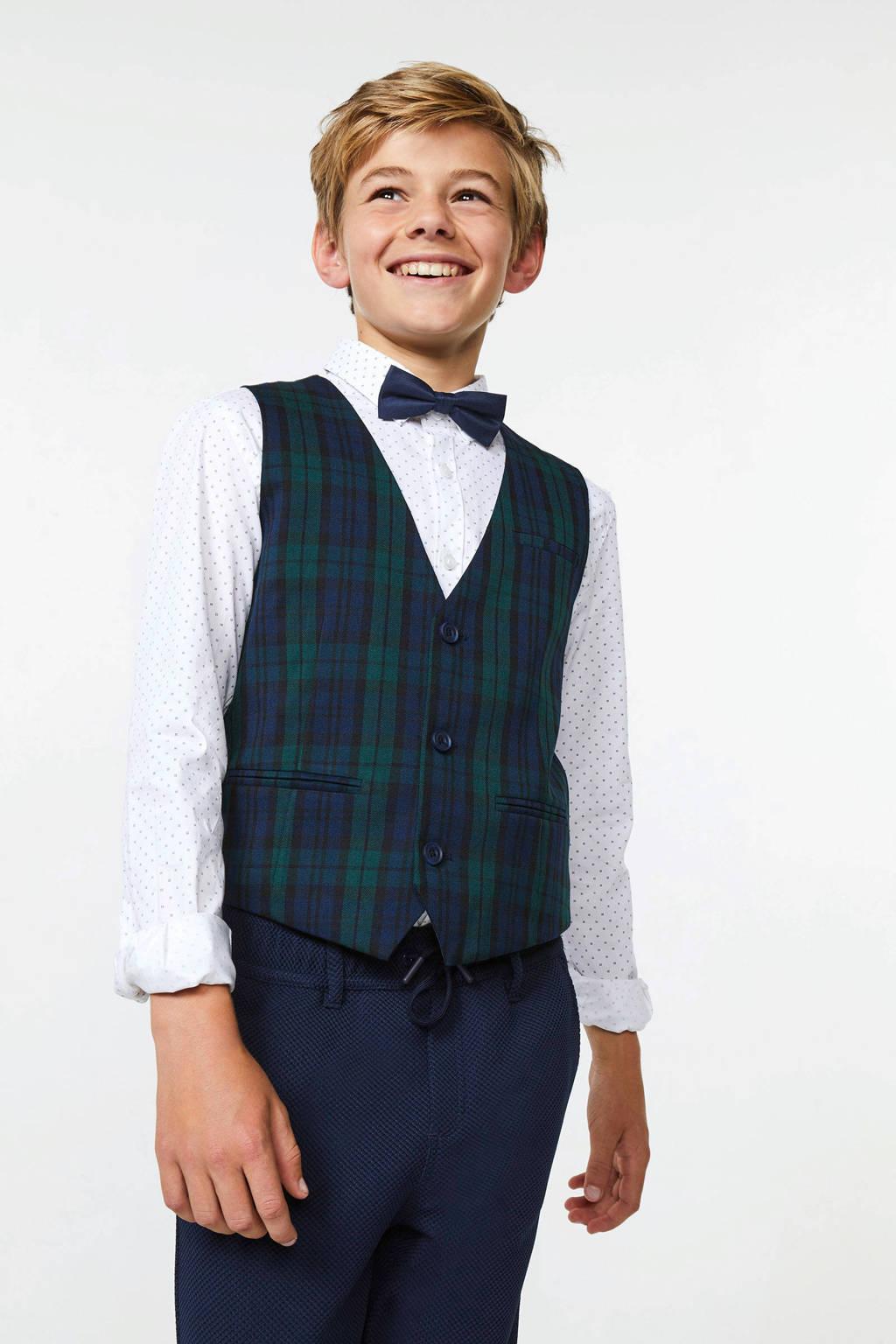 WE Fashion geruit gilet donkerblauw/groen, Donkerblauw/groen