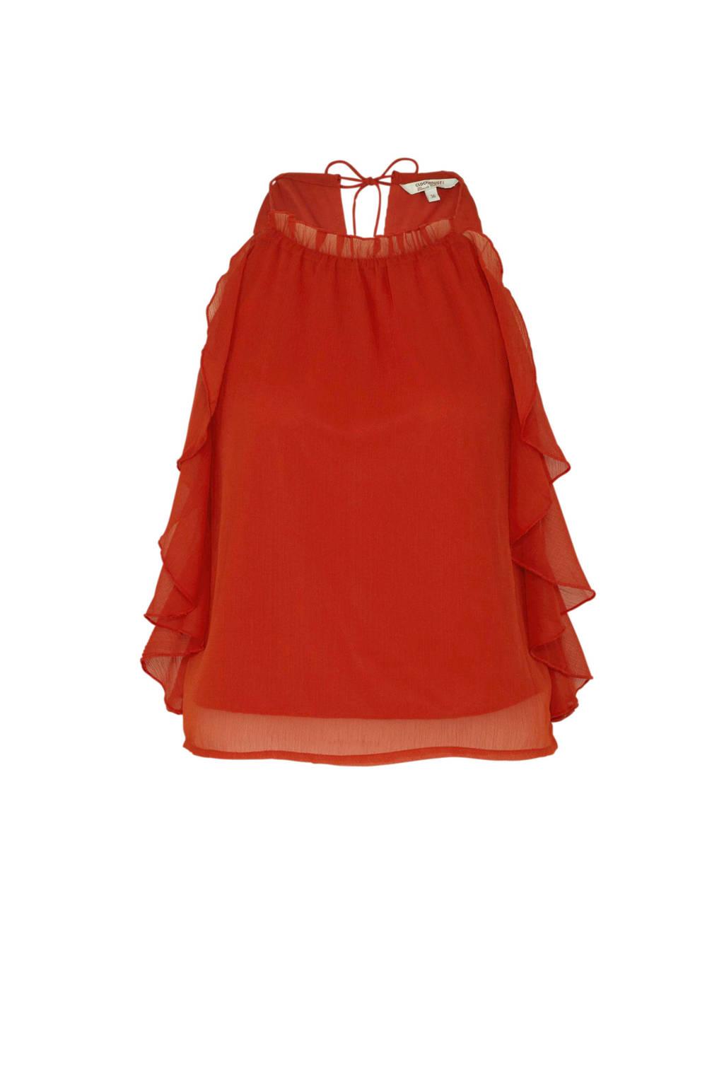 C&A Clockhouse semi-transparante halter top met ruches oranje, Oranje