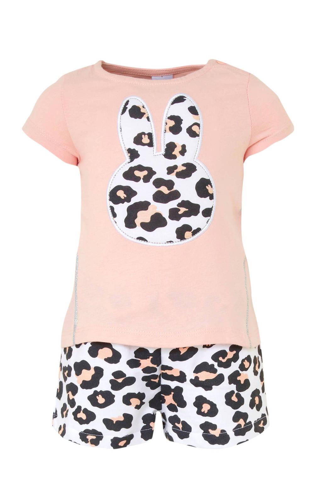C&A nijntje T-shirt + sweatshort, Lichtroze/wit