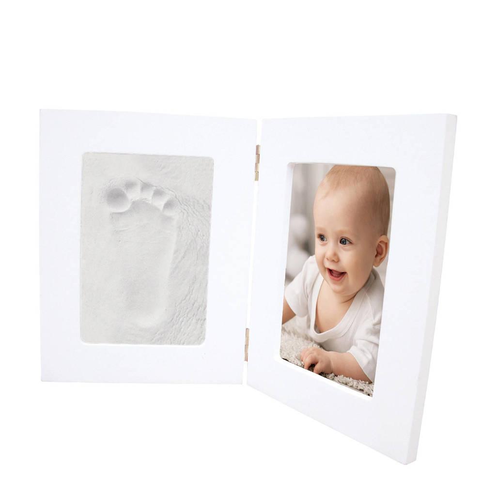Happy Hands gipsafdruk in fotolijstje wit, Wit
