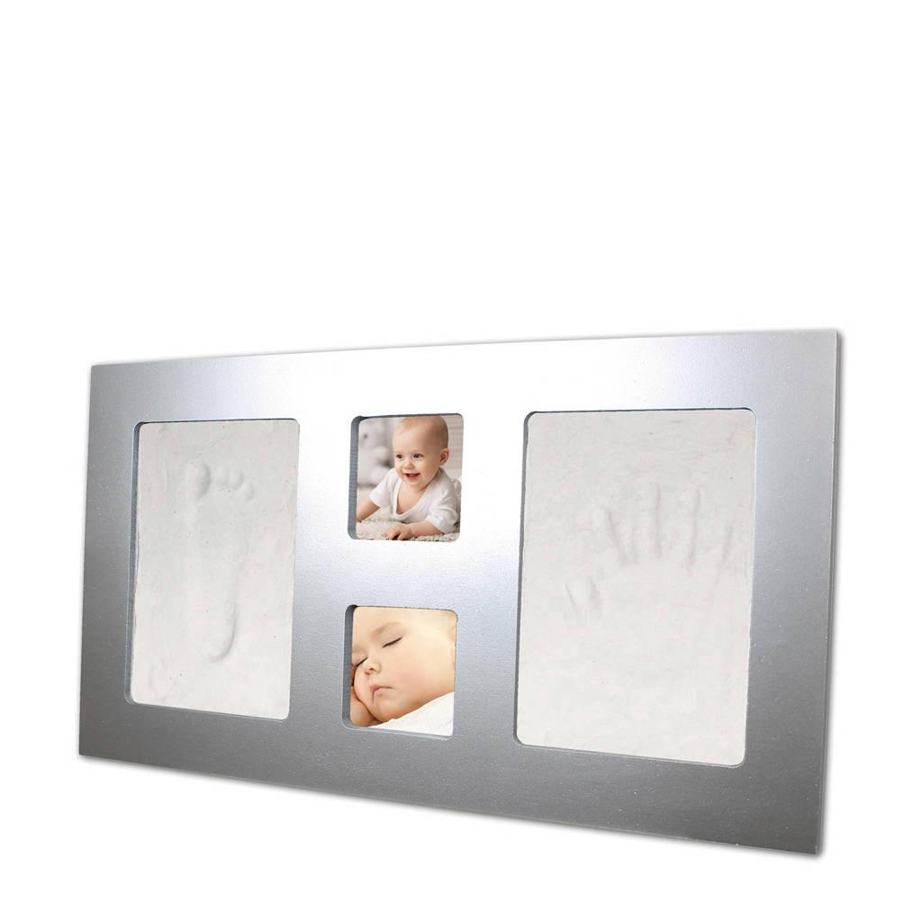 Happy Hands gipsafdruk in fotolijstje zilver, Zilver
