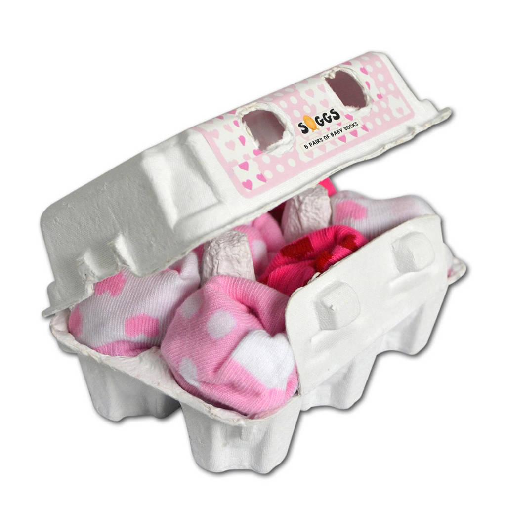 Soggs babysokjes 4-12 maanden roze, roze/ wit
