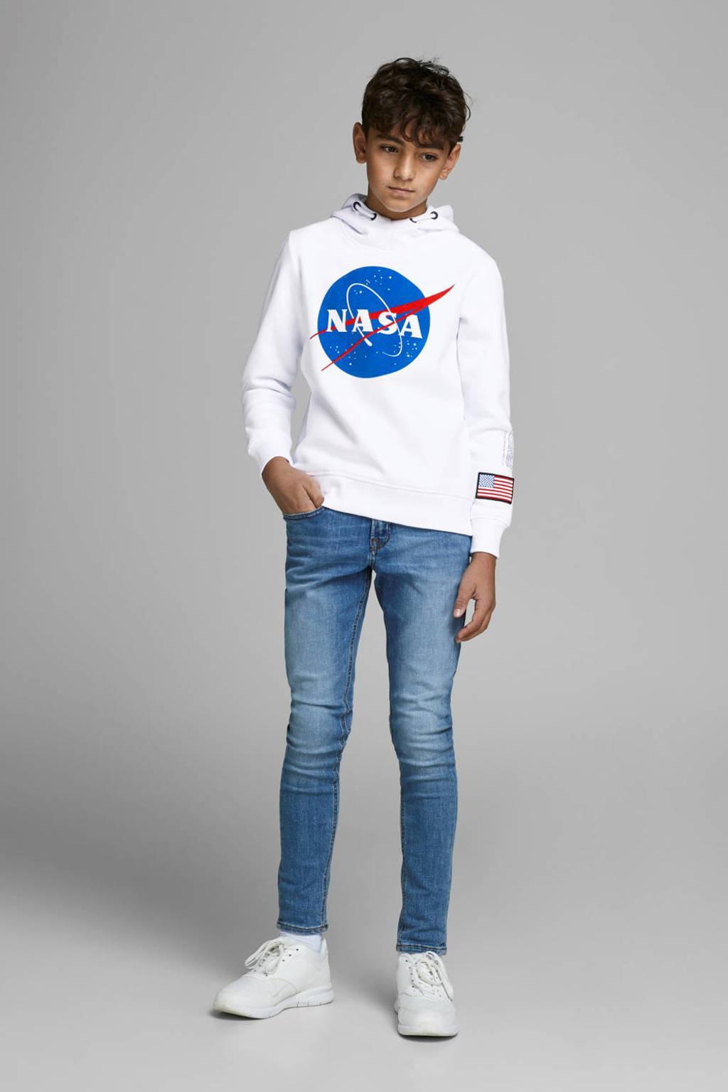 JACK & JONES JUNIOR hoodie met printopdruk wit/blauw/rood, Wit/blauw/rood