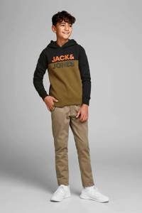 JACK & JONES JUNIOR hoodie met tekst olijfgroen/zwart/oranje, Olijfgroen/zwart/oranje