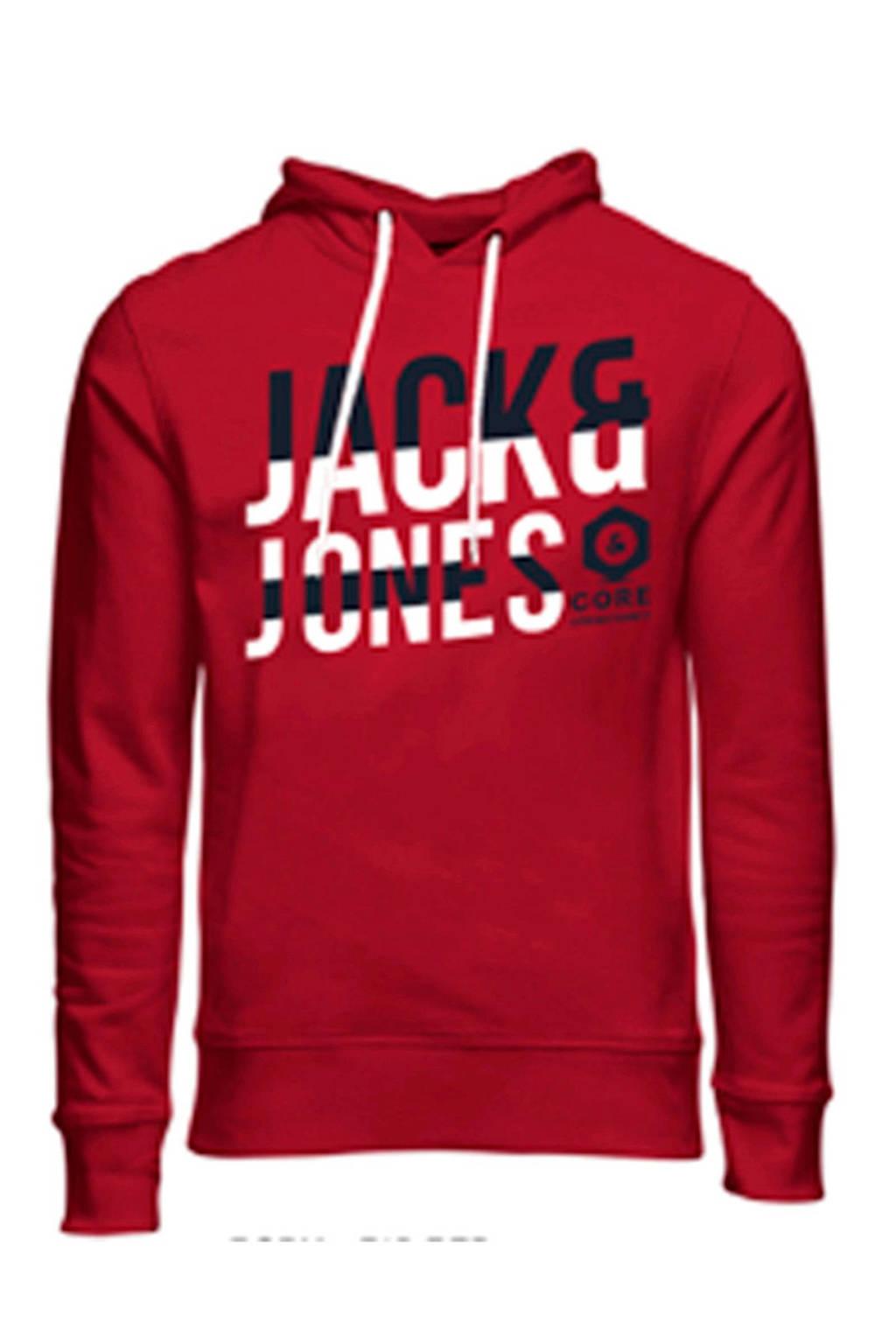 JACK & JONES JUNIOR hoodie met tekst rood/wit/zwart, Rood/wit/zwart