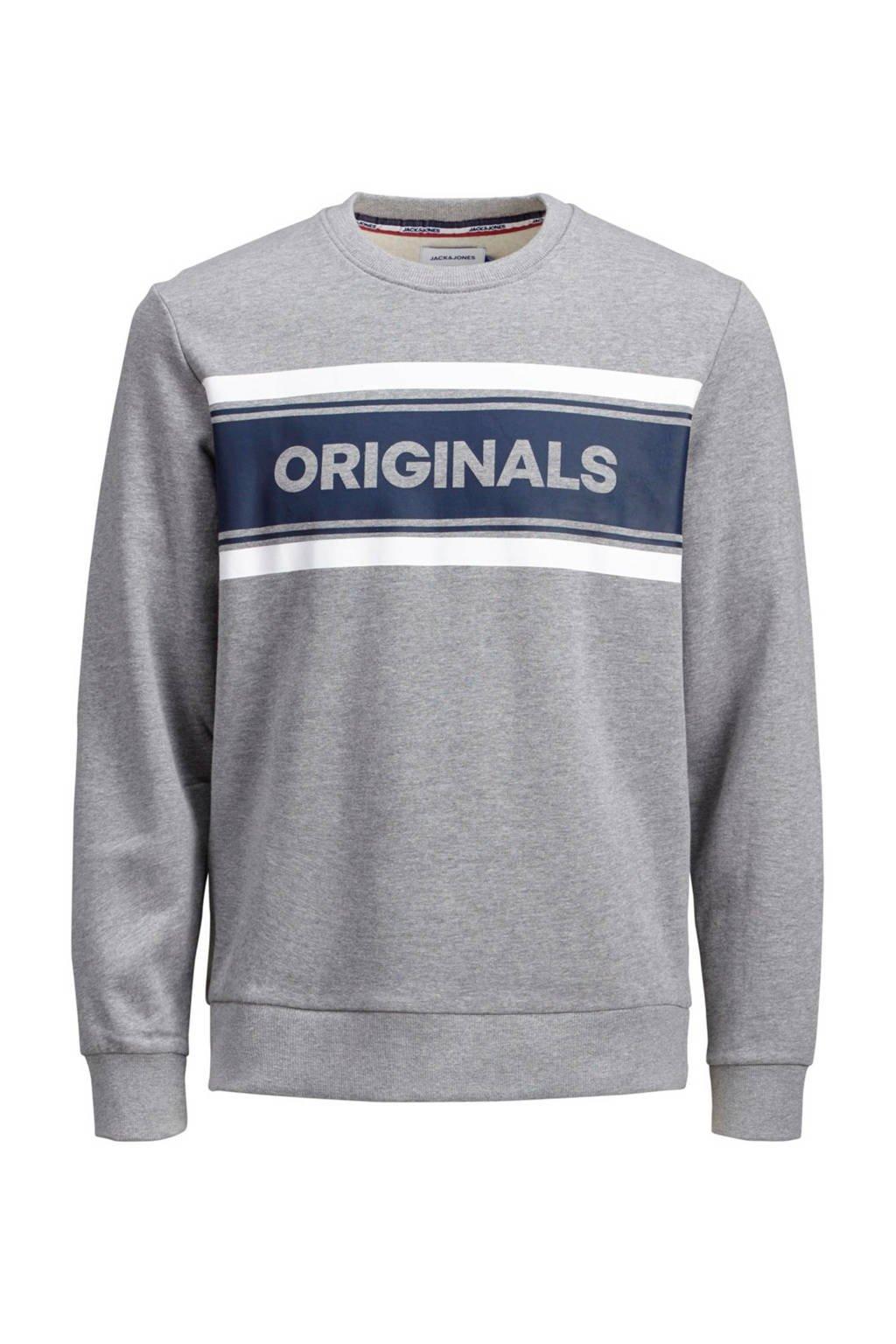 JACK & JONES JUNIOR sweater met printopdruk grijs/donkerblauw/wit, Grijs/donkerblauw/wit