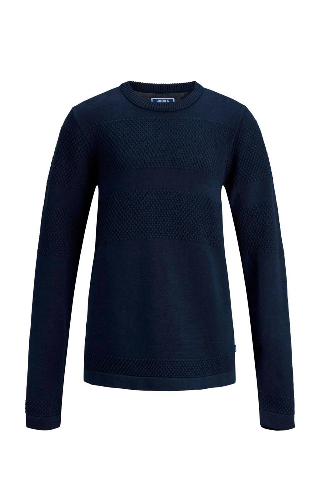 JACK & JONES JUNIOR gebreide trui met textuur donkerblauw, Donkerblauw