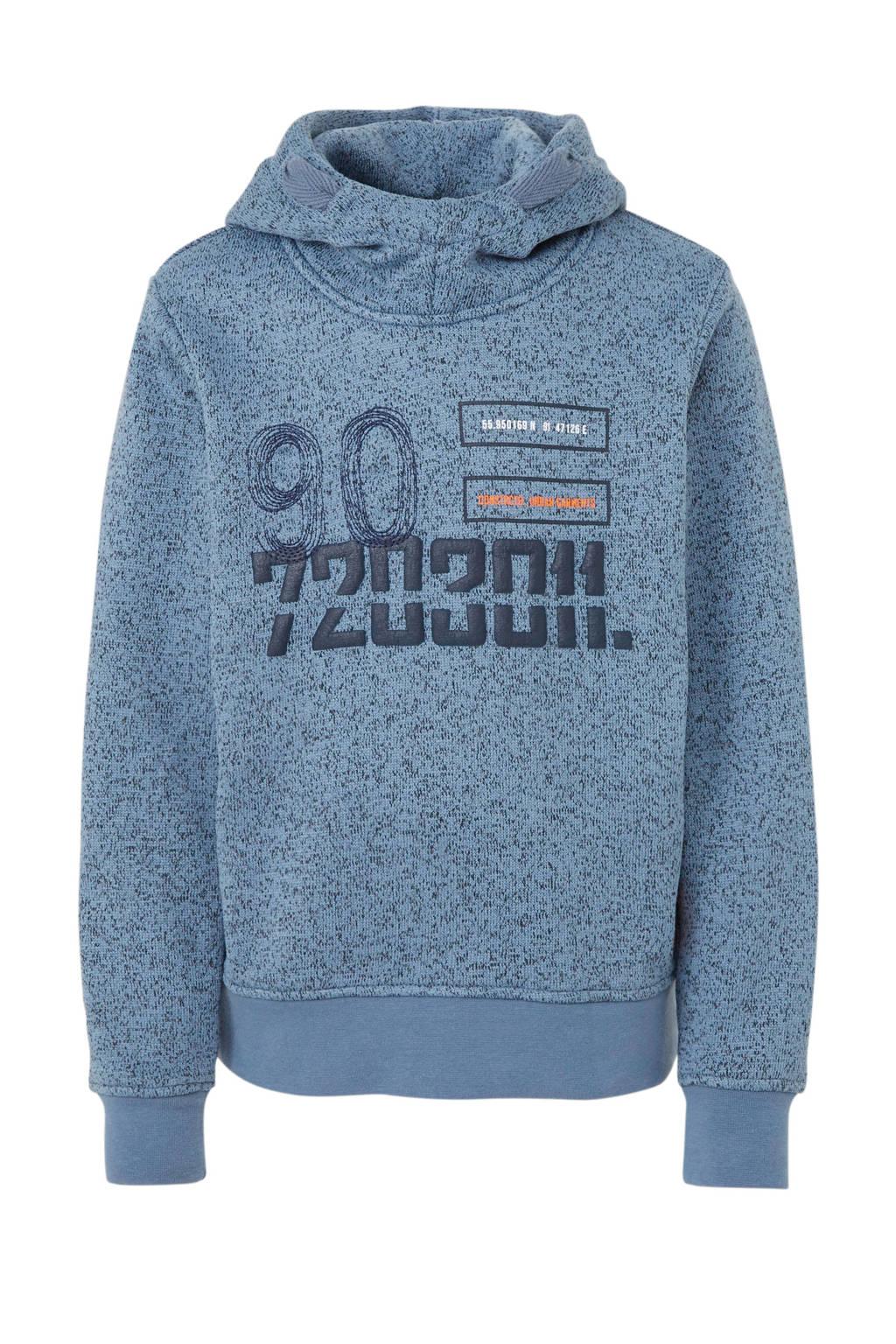 JACK & JONES JUNIOR gebreide hoodie met tekst en borduursels lichtblauw/donkerblauw, Lichtblauw/donkerblauw