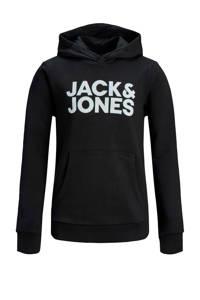 JACK & JONES JUNIOR hoodie Corp met logo lichtgrijs, Zwart/wit